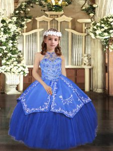 New Style Royal Blue Tulle Lace Up Kids Formal Wear Sleeveless Floor Length Beading and Appliques