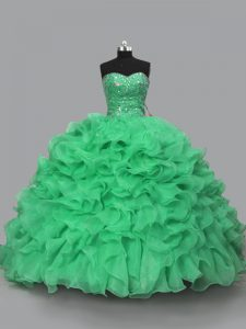 Halter Top Sleeveless Lace Up Quinceanera Dresses Green Organza