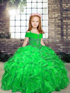 Lace Up Little Girl Pageant Dress Beading and Ruffles Sleeveless Floor Length