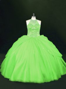 Deluxe 15th Birthday Dress Sweet 16 and Quinceanera with Beading Halter Top Sleeveless Lace Up