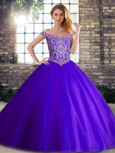 Super Purple Lace Up Sweet 16 Quinceanera Dress Beading Sleeveless Brush Train