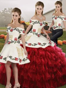 Wine Red 15th Birthday Dress Military Ball and Sweet 16 and Quinceanera with Embroidery and Ruffled Layers Off The Shoulder Sleeveless Lace Up