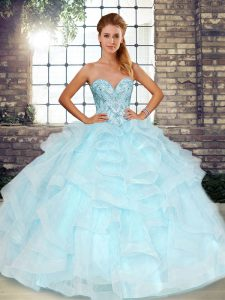 Most Popular Tulle Sweetheart Sleeveless Lace Up Beading and Ruffles Quinceanera Dress in Light Blue
