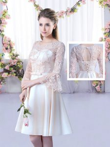 Clearance Scoop 3 4 Length Sleeve Quinceanera Dama Dress Mini Length Lace and Belt Champagne Satin