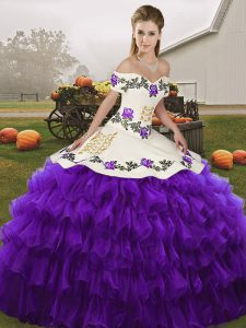 Off The Shoulder Sleeveless Lace Up Quinceanera Gown White And Purple Organza