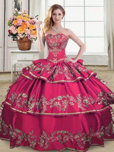 Hot Pink Lace Up Quinceanera Dresses Embroidery and Ruffled Layers Sleeveless Floor Length