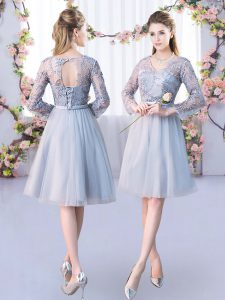 Grey Long Sleeves Lace and Belt Knee Length Quinceanera Court Dresses