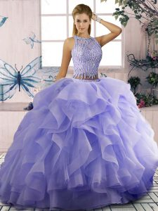 Ball Gowns Sleeveless Lavender Quinceanera Gowns Zipper