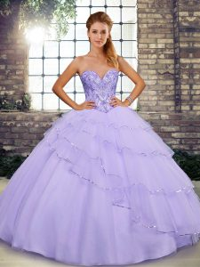 Vintage Lavender Tulle Lace Up 15th Birthday Dress Sleeveless Brush Train Beading and Ruffled Layers