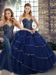 Navy Blue Tulle Lace Up Sweetheart Sleeveless 15th Birthday Dress Brush Train Beading and Ruffled Layers