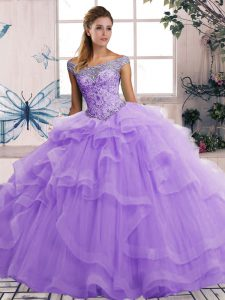 Cute Tulle Sleeveless Floor Length Quinceanera Gowns and Beading and Ruffles
