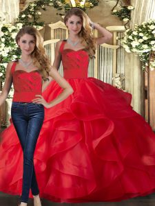 Traditional Sleeveless Floor Length Ruffles Lace Up 15th Birthday Dress with Red