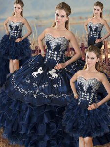 Enchanting Sleeveless Organza Floor Length Lace Up Quinceanera Dress in Navy Blue with Embroidery and Ruffles