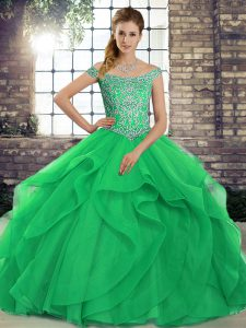 Trendy Green Off The Shoulder Neckline Beading and Ruffles 15th Birthday Dress Sleeveless Lace Up