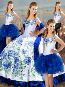 Latest Floor Length Blue And White Quince Ball Gowns Satin Sleeveless Embroidery
