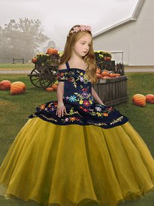 Olive Green Sleeveless Organza Lace Up Little Girl Pageant Dress for Party and Wedding Party