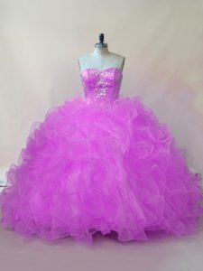 Clearance Sleeveless Organza Floor Length Lace Up Vestidos de Quinceanera in Lilac with Beading and Ruffles