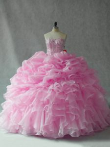 Hot Selling Baby Pink Organza Lace Up Strapless Sleeveless 15th Birthday Dress Brush Train Beading and Ruffles and Pick Ups