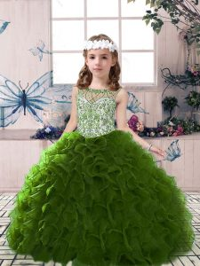 Organza Scoop Sleeveless Lace Up Beading and Ruffles Kids Pageant Dress in Olive Green
