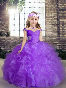 Purple Sleeveless Floor Length Beading Lace Up Little Girls Pageant Dress