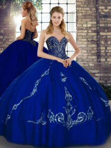 Traditional Royal Blue Sleeveless Beading and Embroidery Floor Length Quinceanera Gown