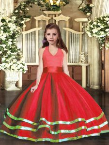 Dramatic Red Ball Gowns Halter Top Sleeveless Tulle Floor Length Lace Up Ruffled Layers Little Girls Pageant Dress