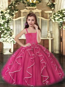 Trendy Fuchsia Lace Up Straps Ruffles Little Girl Pageant Gowns Tulle Sleeveless