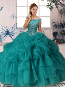 Beautiful Sleeveless Brush Train Zipper Beading and Pick Ups Sweet 16 Dress