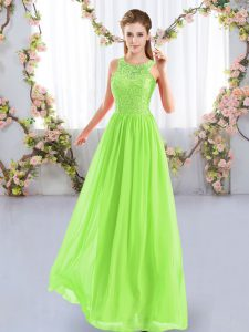 Elegant Floor Length Yellow Green Damas Dress Chiffon Sleeveless Lace