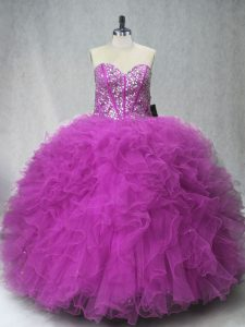 Fashionable Fuchsia Sweet 16 Quinceanera Dress Sweet 16 and Quinceanera with Beading and Ruffles Scoop Sleeveless Lace Up