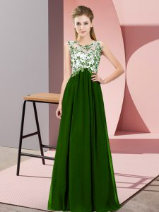 Classical Chiffon Scoop Sleeveless Zipper Beading and Appliques Quinceanera Court of Honor Dress in Green