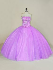 Fashionable Sleeveless Floor Length Sequins Lace Up Ball Gown Prom Dress with Lilac