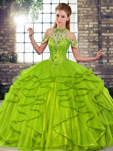 Tulle Halter Top Sleeveless Lace Up Beading and Ruffles Quinceanera Gowns in Olive Green