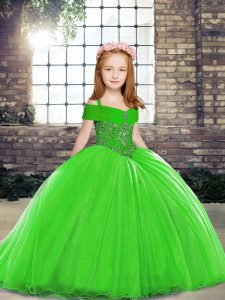 Custom Fit Green Lace Up Straps Beading Child Pageant Dress Tulle Sleeveless Brush Train