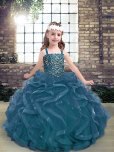 Modern Blue Straps Lace Up Beading and Ruffles Girls Pageant Dresses Sleeveless