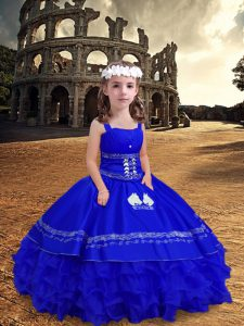 Discount Royal Blue Pageant Gowns For Girls Wedding Party with Embroidery and Ruffled Layers Straps Sleeveless Zipper