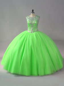 Ball Gowns Tulle Scoop Sleeveless Beading Floor Length Lace Up Sweet 16 Quinceanera Dress