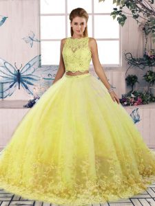 Traditional Yellow Sleeveless Sweep Train Lace Sweet 16 Dresses