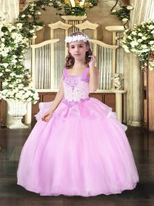 Stunning Sleeveless Beading Lace Up Kids Formal Wear