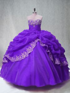 Purple Quinceanera Dresses Sweet 16 and Quinceanera with Beading and Appliques and Pick Ups Sweetheart Sleeveless Lace Up