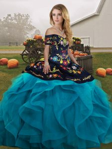 Beautiful Teal Off The Shoulder Lace Up Embroidery and Ruffles Ball Gown Prom Dress Sleeveless