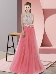 Pretty Sleeveless Tulle Floor Length Zipper Dama Dress for Quinceanera in Watermelon Red with Lace