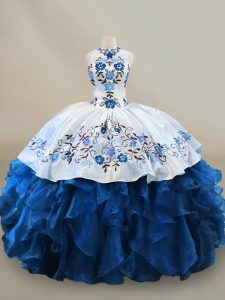 Edgy Sleeveless Floor Length Embroidery and Ruffles Lace Up Sweet 16 Dress with Blue And White
