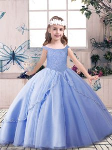 Latest Off The Shoulder Sleeveless Girls Pageant Dresses Floor Length Beading Blue Tulle