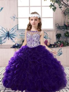 Lovely Purple Organza Lace Up Little Girls Pageant Dress Wholesale Sleeveless Floor Length Beading and Ruffles