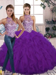Beautiful Tulle Halter Top Sleeveless Lace Up Beading and Ruffles 15 Quinceanera Dress in Purple