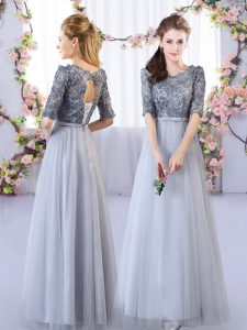 Top Selling Grey Empire Tulle Scoop Half Sleeves Appliques Floor Length Lace Up Quinceanera Court Dresses