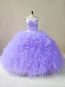Popular Sleeveless Floor Length Beading and Ruffles Lace Up Sweet 16 Quinceanera Dress with Lavender