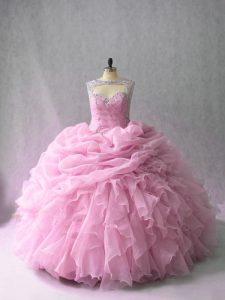 Scoop Sleeveless 15 Quinceanera Dress Brush Train Beading and Ruffles Pink Organza