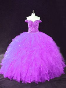 Purple Off The Shoulder Neckline Beading and Ruffles Quinceanera Dresses Sleeveless Lace Up